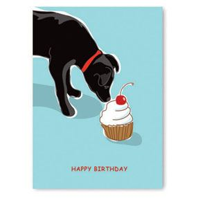 Birthday - Black Dog Cupcake Greeting Cards - 6 cards PRGN269